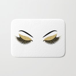 Lashes with gold glitter Bath Mat