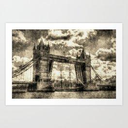 Tower Bridge and the Stavros N Niachos Vintage Art Print