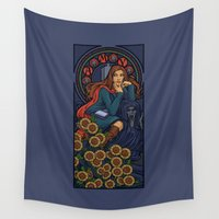 mucha Wall Tapestries featuring Pond Nouveau by Karen Hallion Illustrations