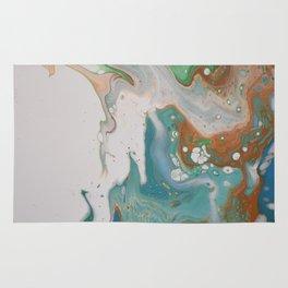 Turquoise Green Fluid Flow Marble Art Rug
