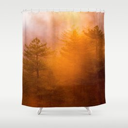 Golden Morning Glory Forest Shower Curtain