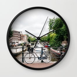 Bicycles in Amsterdam canal Wall Clock