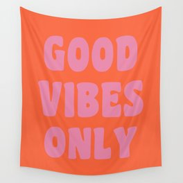 Retro Good Vibes Only Lettering in Pink and Orange Wall Tapestry