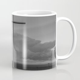 Higher Power - Cross in Front of Storm in Oklahoma in Black and White Coffee Mug