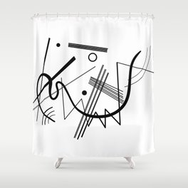 Kandinsky - Black and White Abstract Art Shower Curtain