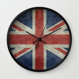 UK Flag, Dark grunge 1:2 scale Wall Clock