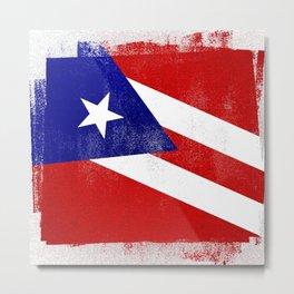 Puerto Rican Distressed Halftone Denim Flag Metal Print