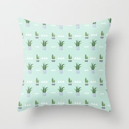 Modern teal green white triangles cactus floral pattern Throw Pillow