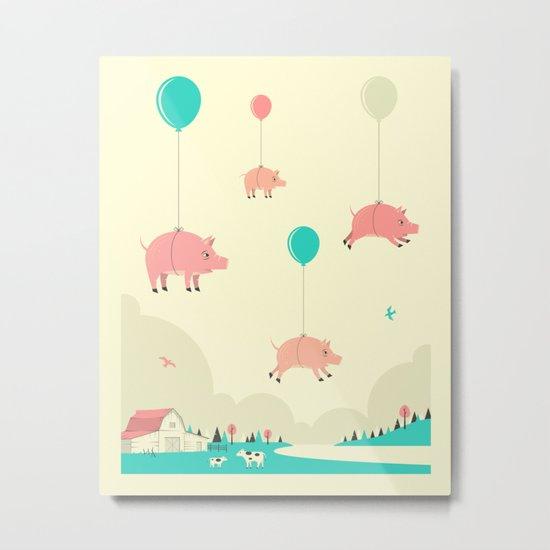 FLOCK OF PIGS Metal Print