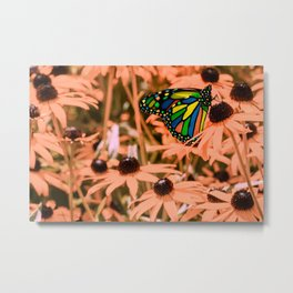 Surreal Monarch Butterfly on Coral Flowers Metal Print