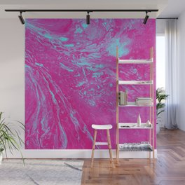 Flood of Pink & Turquoise - An Abstract Piece Wall Mural