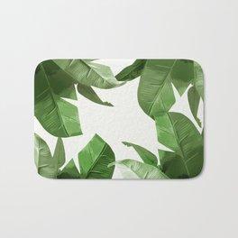 Tropical Palm Print Treetop Greenery Bath Mat