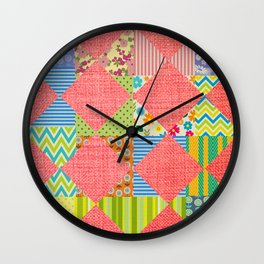 Pink patchwork print Wall Clock