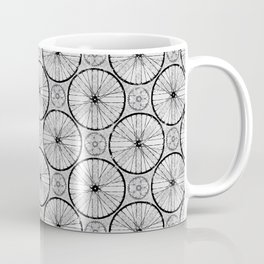 For the Love of Cycling Pattern - Grey Black Coffee Mug