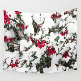 SNOW COVERED HOLLY Wall Tapestry