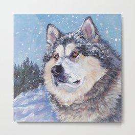 Alaskan Malamute dog portrait Fine Art Dog Painting by L.A.Shepard Metal Print