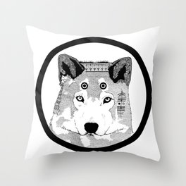 Hippie Wolf Throw Pillow