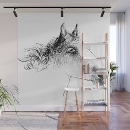 Horse, animal head portrait, hand drawn black and white drawing Wall Mural