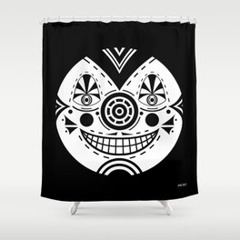 Priest Circle- black on black Shower Curtain