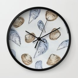 Mussels and Clams Wall Clock