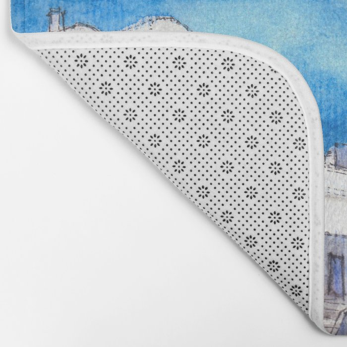 Greece ink & watercolor illustration Bath Mat