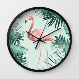 Flamingo in the Jungle #1 #tropical #decor #art #society6 Wall Clock