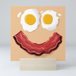Bacon and Eggs Breakfast Smile Mini Art Print