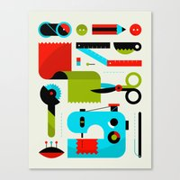sewing Canvas Prints featuring Sewing Kit by koivo