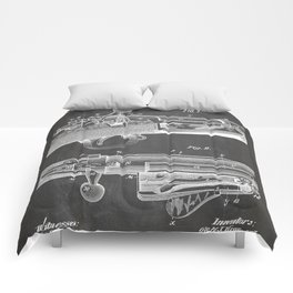 Bolt Action Rifle Patent - Repeating Receiver Art - Black Chalkboard Comforters