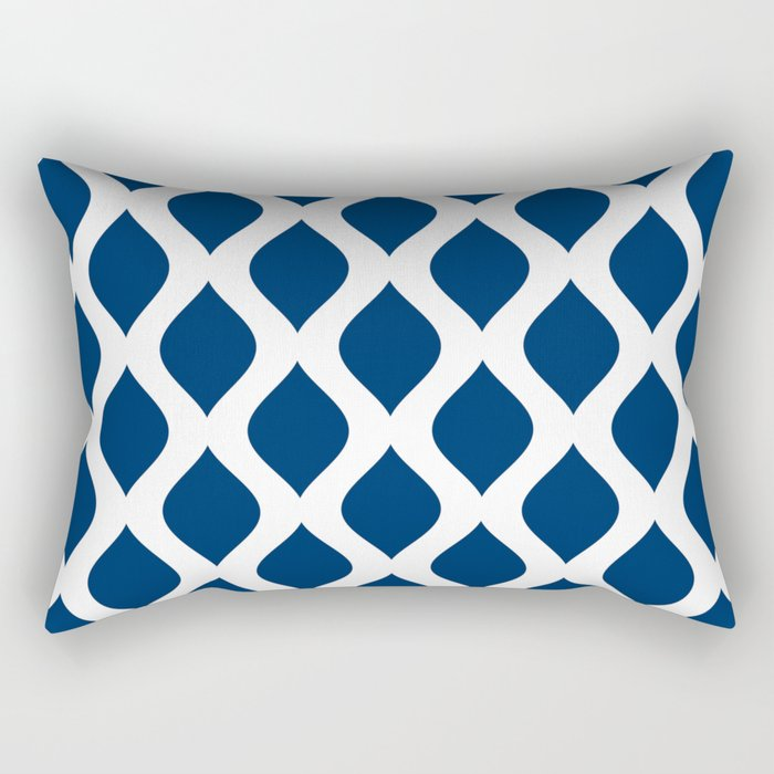 Dark blue and white curved lines pattern Rectangular Pillow