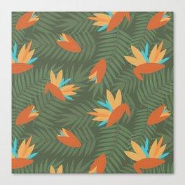 Vintage Florida Birds of Paradise Pattern Canvas Print