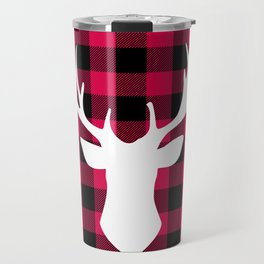 Winter Plaid Deer Travel Mug