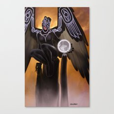 Raven Coveting the Moon Canvas Print