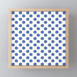 Blue flowers on white Framed Mini Art Print