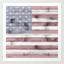 Rustic Red White Blue Wood USA flag Art Print