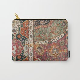 Persian Medallion Rug II // 16th Century Distressed Red Green Blue Flowery Colorful Ornate Pattern Carry-All Pouch