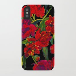 Inky Tulips Black iPhone Case