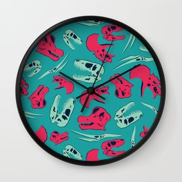 Skull Roll - Teal & Red Palette Wall Clock