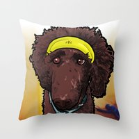 hobbes Throw Pillows featuring Hobbes (poodle) by BinaryGod.com