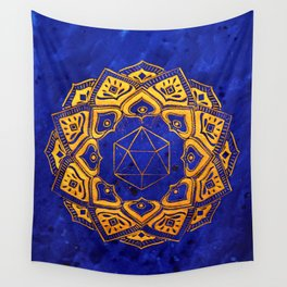 """Cosahedron, sacred geometry""  WATERCOLOR MANDALA (HAND PAINTED) BY ILSE QUEZADA Wall Tapestry"