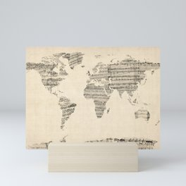 Old Sheet Music World Map Mini Art Print