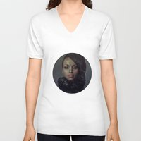 raven V-neck T-shirts featuring Raven by Flo Tucci