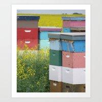 Prairie Beehives Art Print