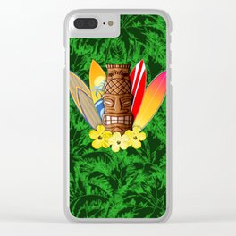 Surfboards And Tiki Mask Palm Trees Clear iPhone Case