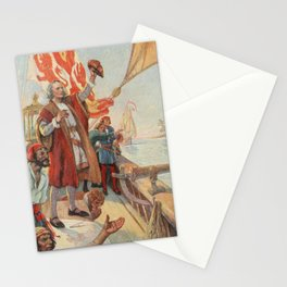 School Histhe United States 1918 - Columbus discovers land in America 1492 Stationery Cards