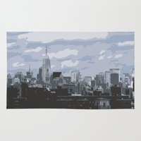 new york skyline Area & Throw Rugs featuring New York Skyline by Thee Xelerator