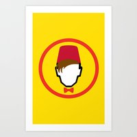 fez Art Prints featuring Man With Fez by Evan Ayres