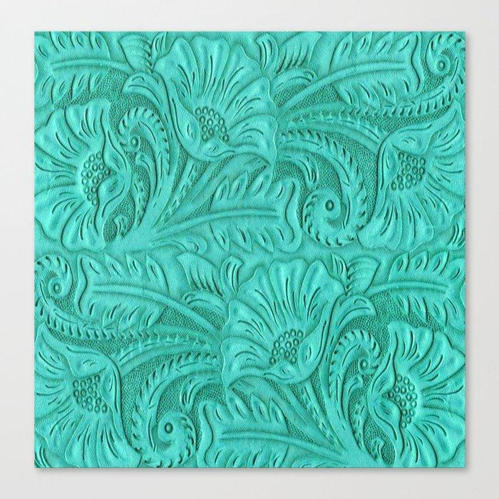 Turquoise Tooled Leather Print Leinwanddruck