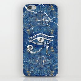 Silver Egyptian Eye of Horus  on blue marble iPhone Skin