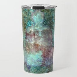 Watercolor Mandala Buddha in Galaxy Travel Mug